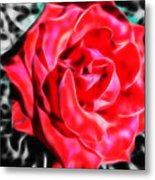 Red Rose Fractal Metal Print