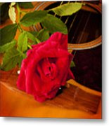 Red Rose Natural Acoustic Guitar Metal Print by M K  Miller