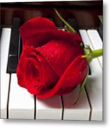Red Rose On Piano Keys Metal Print by Garry Gay