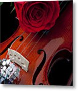 Red Rose With Violin Metal Print by Garry Gay