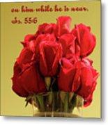 Red Rosed In Vase Is.55 V 6 Metal Print