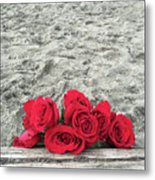 Red Roses Beachside Metal Print
