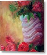Red Roses For A Blue Vase Metal Print