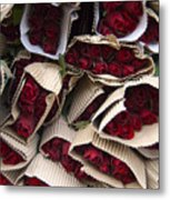 Red Roses Wrapped In Paper Displayed Metal Print