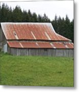 Red Rusty Tin Roofed Old Barn Washington State Metal Print