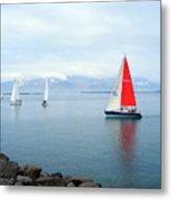 Red Sailing Freedom Metal Print