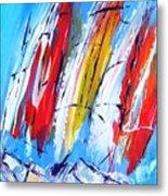 Red Sails On Blue  Metal Print