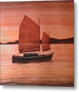 Red Sea With Chinese Boat Metal Print