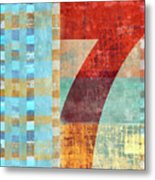 Red Seven And Stripes Mixed Media Metal Print