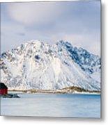 Red Shack On Fjord - Panorama Metal Print
