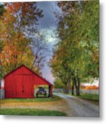 Red Shaker Carriage Barn Metal Print