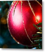Red Shiny Ornament Metal Print