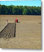 Red Shirt Red Tractor  Metal Print