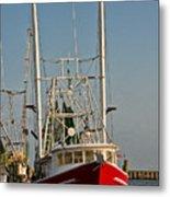 Red Shrimp Boat Metal Print