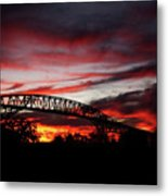 Red Skies At Pleasure Island Bridge Metal Print