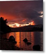 Red Skies Over Loch Rannoch Metal Print