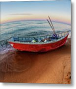 Red Skiff Metal Print