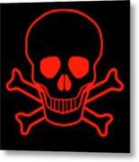 Red Skull And Crossbones Metal Print