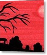 Red Sky Cemetery Metal Print