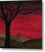 Red Sky - Dark Hills Metal Print