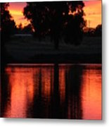 Red Sky Reflection With Tree Metal Print