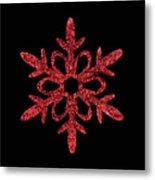 Red Snowflake Ornament Metal Print