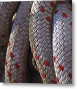 Red Speckled Rope Metal Print