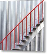 Red Staircase Metal Print