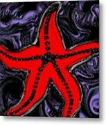 Red Starfish In Stormy Seas Metal Print