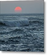 Red Sun With Wave Metal Print