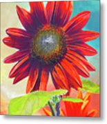 Red Sunflowers At Sundown Metal Print