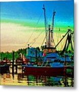 Red Sunrise And The Shrimp Boat Metal Print