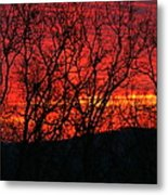 Red Sunrise Over The Ozarks Metal Print