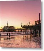 Red Sunset In Santa Monica Metal Print