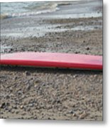Red Surf Board On A Rocky Beach Metal Print