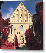 Red Surreal Abbey Ruins Metal Print