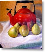 Red Teapot And Pears Metal Print