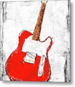 Red Telecaster Fine Art Illustration By Roly O Metal Print