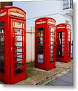Red Telephone Booths London Metal Print