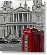 Red Telephone Boxes In London Metal Print
