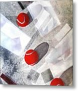 Red Tennis Balls On White Sand Metal Print