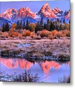 Red Tip Teton Reflection Panorama Metal Print