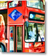 Red Tourist Bus In New York Metal Print