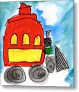Red Train Metal Print