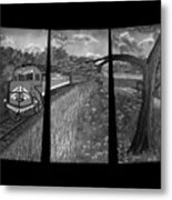 Red Train Passage In Black And White Metal Print