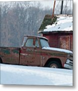 Red Truck In The Snow Metal Print