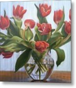 Red Tulips, Glass Vase Metal Print