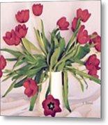 Red Tulips In Full Bloom Metal Print