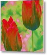 Red Tulips Pop Art Metal Print