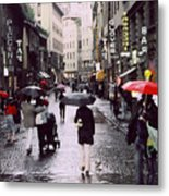 Red Umbrella In The Rain Metal Print